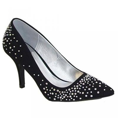 キューピッド レディース パンプス Qupid SAFFIR-08 Women's Glitter Jeweled Pointy Toe Stiletto Pump, Color:BLACK, Size:7