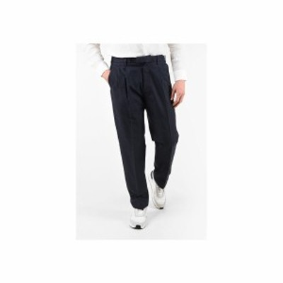 ERMENEGILDO ZEGNA/エルメネジルド ゼニア Blue メンズ EZ LUXURY Cotton and Linen Double Pleat Pants dk