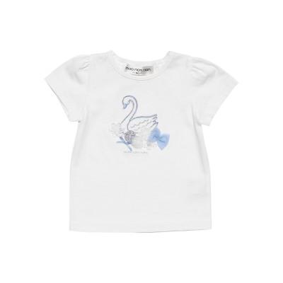 【MOONONNON】ベビーサイズ スワンプリント&チュールお花モチーフつきTシャツ