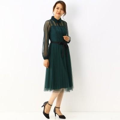アンフィニ(INFINE)/【結婚式・二次会・パーティー】レース&チュール・プリーツワンピース