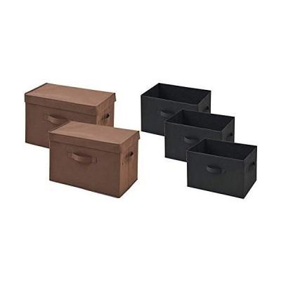 山善 ふた付き 収納ボックス 幅38×奥行25×高さ25cm 取っ手付き カラーボックス対応 完成品 ブラウン 2個組 YTCF-2PF(B