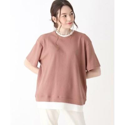 SHOO・LA・RUE/シューラルー 【S-L】ワッフルフェイクTシャツ ライトオレンジ(066) 01(S)