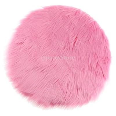 キッズ 遊び用マット 人工ファー シープスキン マット 敷物 フロアカーペット ドアマット ヨガクッション 全9色 - 暗いピンク