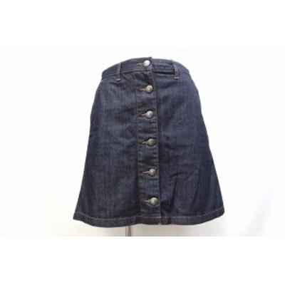 【中古】ローリーズファーム LOWRYS FARM スカート ショート ミニ 台形 デニム シンプル M ダークインディゴ /BT15