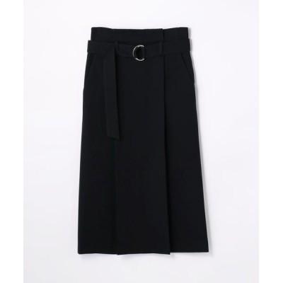 TOMORROWLAND/トゥモローランド コットンウール ベルテッドタックプリーツスカート 69 ネイビー XS(7号)