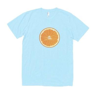 オレンジ 食べ物・飲み物・野菜 Tシャツ 水色
