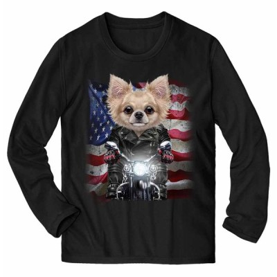 【チワワ ドッグ 犬 いぬ バイク 星条旗 アメリカ】メンズ 長袖 Tシャツ by Fox Republic