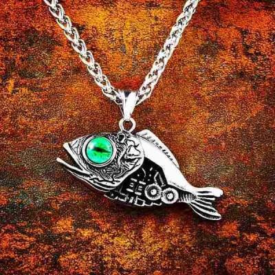 バイエル 316L ステンレス北欧ヴァイキング メンズ 金魚フック 3D 魚 ペンダント 邪眼 kolye ネックレス ファッション ジュエ