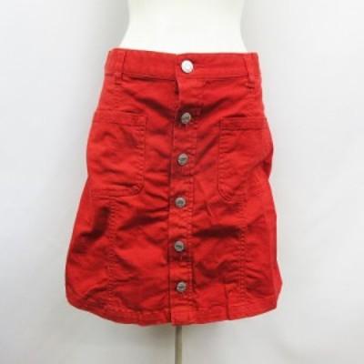 【中古】コルザ COLZA 台形 スカート 膝丈 フロントボタン 綿 コットン ストレッチ S 赤 レッド系 レディース