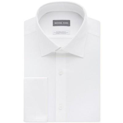 マイケルコース シャツ トップス メンズ Men's Classic/Regular Fit Airsoft Stretch Non-Iron Performance Solid French Cuff Dress Shirt White