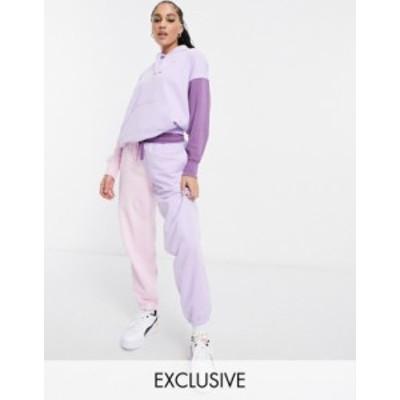 プーマ レディース カジュアルパンツ ボトムス Puma Downtown color-block sweatpants in lilac and pink - Exclusive to ASOS Light lav