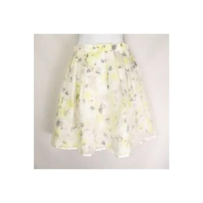 【中古】レストローズ L'EST ROSE オーガンジーフラワースカート 花柄 総柄 リボン装飾  オフホワイト系ベース 2 レディース 【ベクトル 古着】