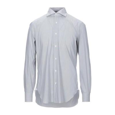 BARBA Napoli ストライプ柄シャツ  メンズファッション  トップス  シャツ、カジュアルシャツ  長袖 グレー