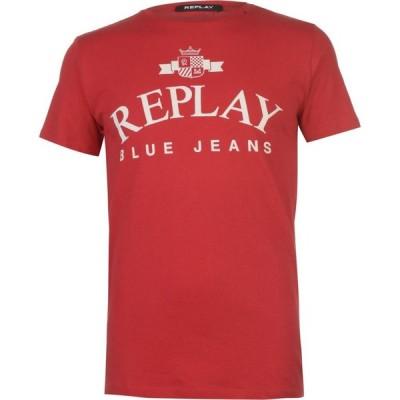リプレイ Replay メンズ Tシャツ ロゴTシャツ トップス Jeans Logo T Shirt Tomato Red