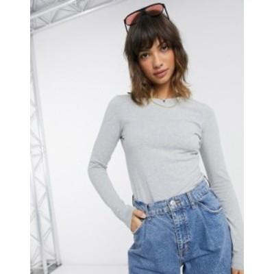 エイソス レディース シャツ トップス ASOS DESIGN ultimate organic cotton long sleeve crew neck t-shirt in gray marl Gray heather
