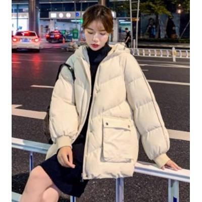 ダウンジャケット レディース ミディアム丈 大きいサイズ ゆったり フード ブルー イエロー ホワイト ブラック グリーン オーバサイズ レ