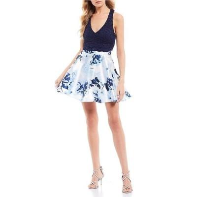 シティヴァイブ レディース ワンピース トップス Lace Bow Top with Floral Print Skirt Two-Piece Dress