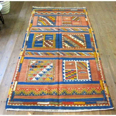 モロッコキリム・タズナフト凹凸のあるパイル織り208×103cmセンターラグレッド&ブルー/モザイクタイル