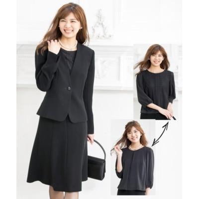 【腕まわりの窮屈感を緩和】洗えるフォーマル3点セット(カラーレスジャケット+レース使いブラウス(リバーシブル仕様)+フレアスカート) (ブラックフォーマル)funeral outfit, plus size funeral outfit