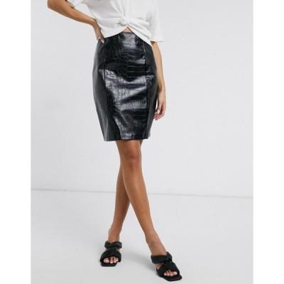 エヌ エー ケイ ディ レディース スカート ボトムス NA-KD embossed croc faux leather skirt in black Black