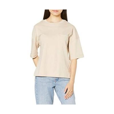 [セシール] Tシャツ 厚手コットン 胸ポケット 綿100% ゆるシルエット レディース (ライトベージュ 3L)