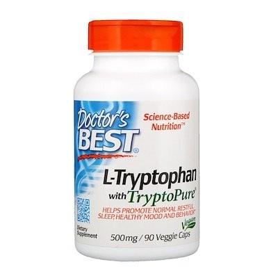 TryptoPure(トリプトピュア)入りL-トリプトファン、500 mg、植物性カプセル90粒