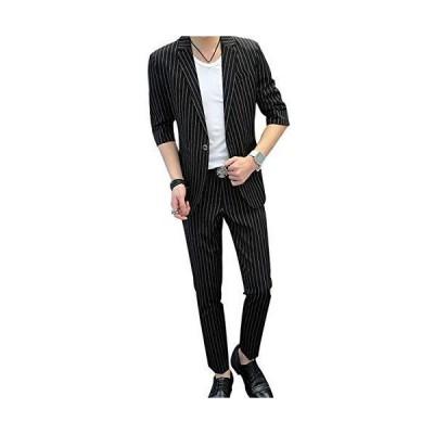 VeroMan セットアップ サマー スーツ メンズ ジャケット パンツ 2点セット 韓国ファッション ストライプ柄 (ブラック, XL)