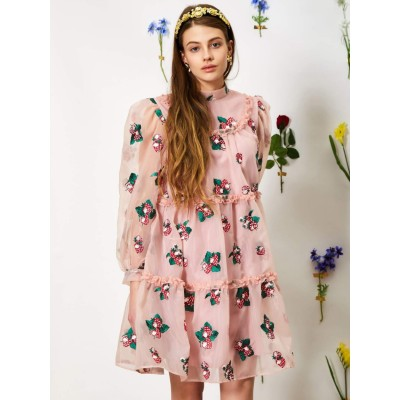 Strawberry Lane Tiered Smock Dress