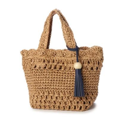 リム LIMP ウッドタッセル付き透かし編みトートバッグ (ベージュ)