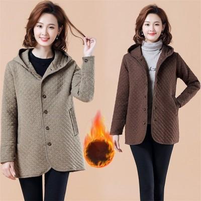 ジャケット レディース 秋冬 キルティングコート ロング丈 長袖 ジャケット アウター 大きいサイズ 中綿 大人可愛い カジュアルアイテム