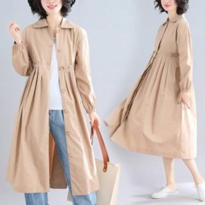 2019秋 新品 カジュアル 無地 長袖 ギャザー 着やせ ゆったり 大きいサイズ トレンチコート   L~XL