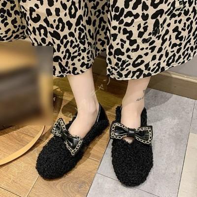 ファー付きフラットシューズパンプス ブーツ靴 冬靴 履きやすい あったか ローヒール 歩きやすい 防寒 かわいい ふわふわ 暖かい ファー モカシン スエード調