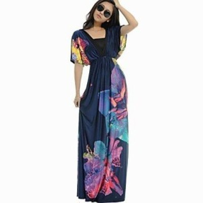 2020 新品ワンピース マキシ丈 夏 半袖 ふんわり 柄物 カジュアル リゾート 青 花柄 蝶 ドレス
