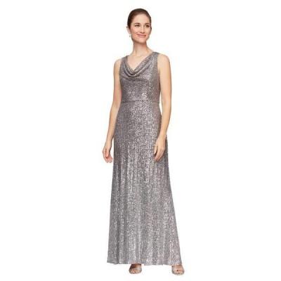 アレックスイブニングス レディース ワンピース トップス Long Sleeveless Ombre Sequin Dress