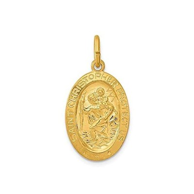 IceCarats 24k Gold Plated 925 Sterling Silver Saint Christopher Medal Neckl