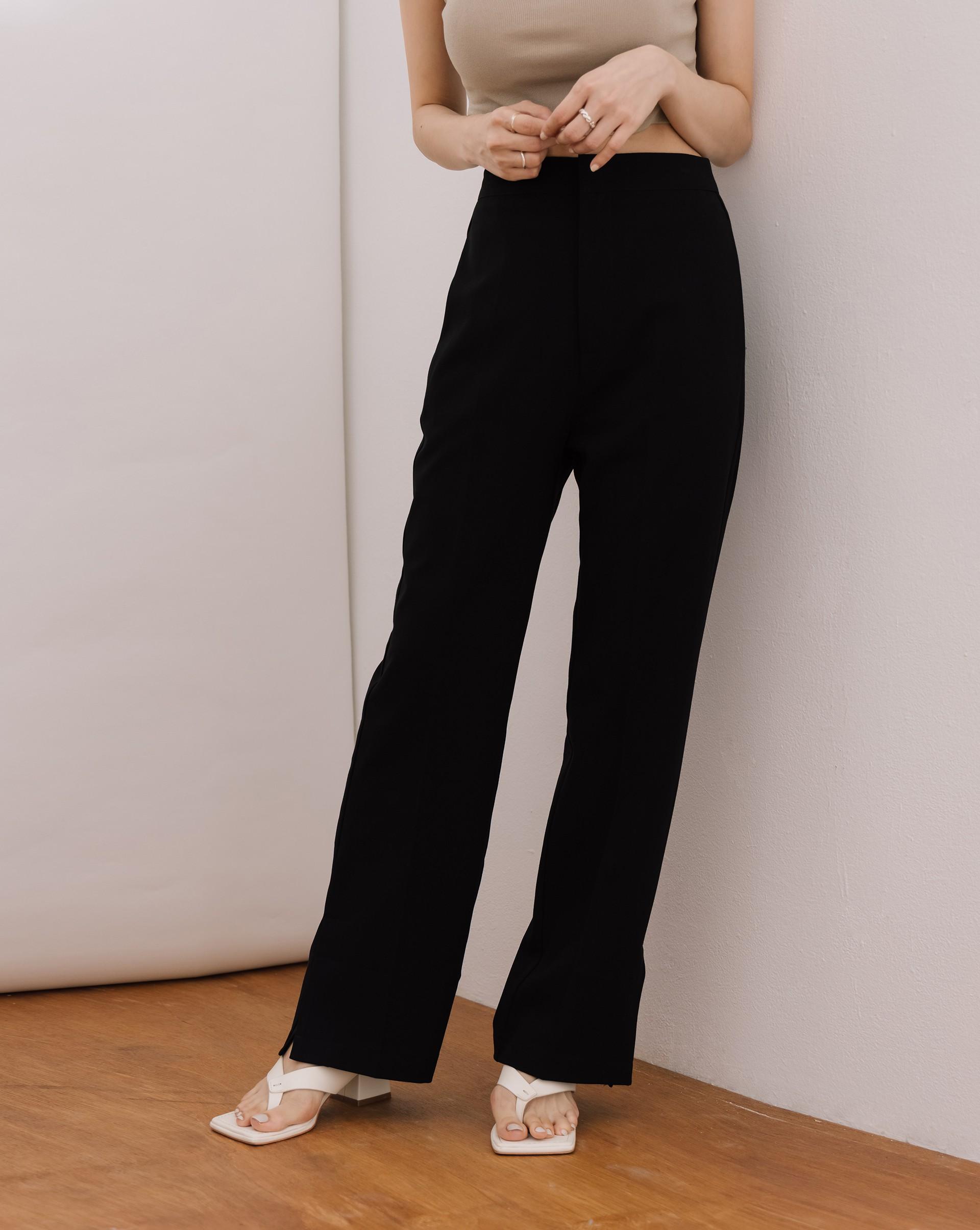 顯瘦開衩西裝長褲-Meierq