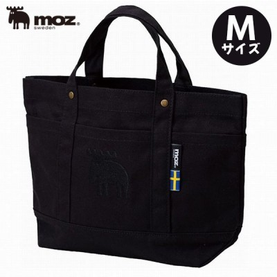 moz 帆布トートバッグ キャンバス素材 Mサイズ ブラック ポケット付き 小さめ レディース ミニバッグ モズ ブランド おしゃれ