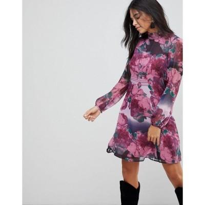 トラフィックピーポー レディース ワンピース トップス Traffic People Ruffle Neck Skater Dress In Rose Print Purple