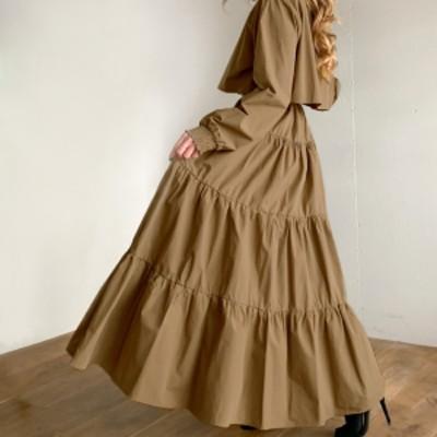 ティアードワンピース 韓国 ファッション レディース シャツワンピース シャツワンピ ロング フレア リボン 長袖 ゆったり レイヤード 大