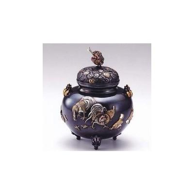 香炉 金鶏鳥 津雪作 蝋型青銅 (ブロンズ) 製 桐箱入り (高岡銅器)