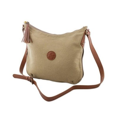 NOVICA Beige Cotton and Leather Accent Shoulder Bag, Parchment Satisfaction'