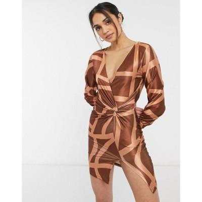 エイソス レディース ワンピース トップス ASOS DESIGN long sleeve slouchy shirt satin mini dress in grid print Beige