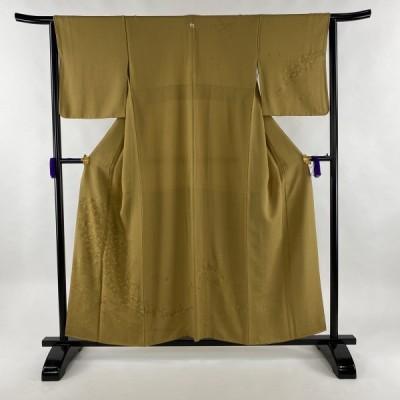訪問着 秀品 一つ紋 花 流水 金糸 刺繍 黄土色 袷 身丈157cm 裄丈64cm M 正絹 中古