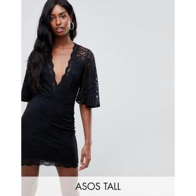エイソストール レディース ワンピース トップス ASOS TALL Cape Plunge Lace Mini Dress Black