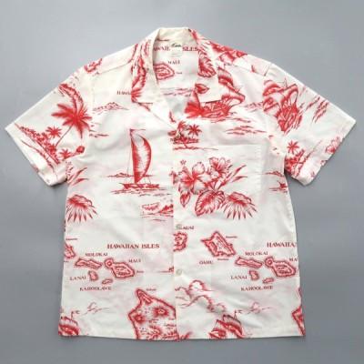 ハワイ製 開襟 アロハシャツ サイズ表記:L