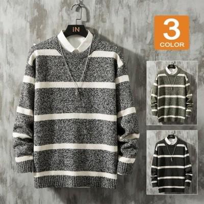 ニットセーター ニット メンズ クルーネック ボーダー柄 長袖セーター トップス あったか セーター 冬服 秋冬