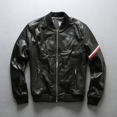本革ジャケット バイク用レザージャケット メンズ 革ジャン 羊革 バイクジャケット ブルゾン 野球服 カジュアル ブラック