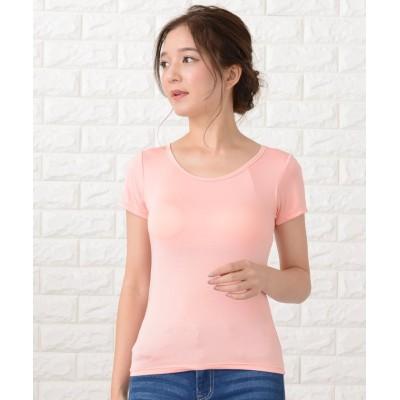 (Lace Ladies/レースレディース)カップ付き半袖Tシャツ トップスインナー/レディース ライトピンク