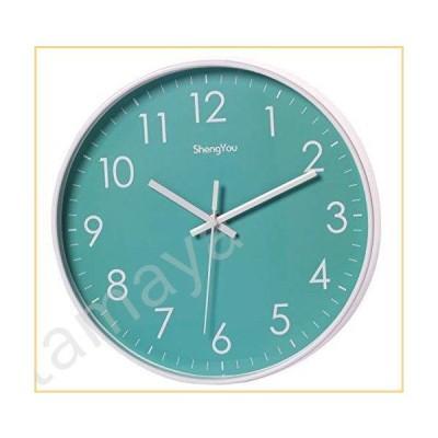 SonYo Indoor Non-Ticking Silent Quartz Modern Simple Wall Clock Digital Quiet Sweep Movement Office Decor 10 Inch (Bluegreen)