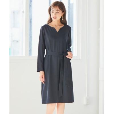 洗えてすごく伸びるサイドポケット付きキーネックワンピース(上下別売り)【レディーススーツ】 (ワンピース)Dress